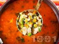 Рецепта Супа / чорба от бяло пилешко месо от гърди (филе), грах, моркови, лук и червен пипер (без картофи и фиде)